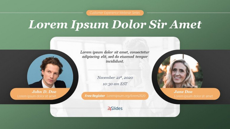 Creative Webinar Banner Template featuring two speakers