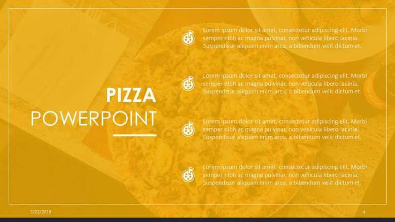 Four-points slide with a homemade pizza image as background