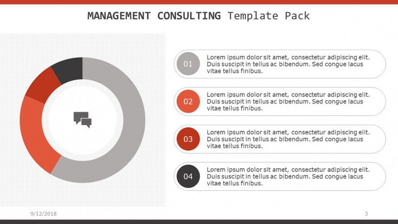 management consultant slide with circle pie chart and four descriptive key factors