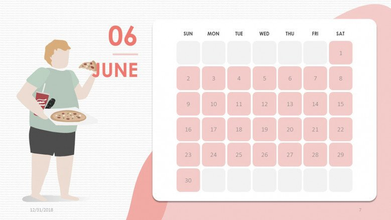 2019 calendar june in creative style with illustration