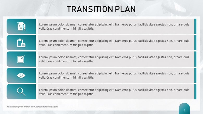 Blue Transition Plan chart in creative style with business icons