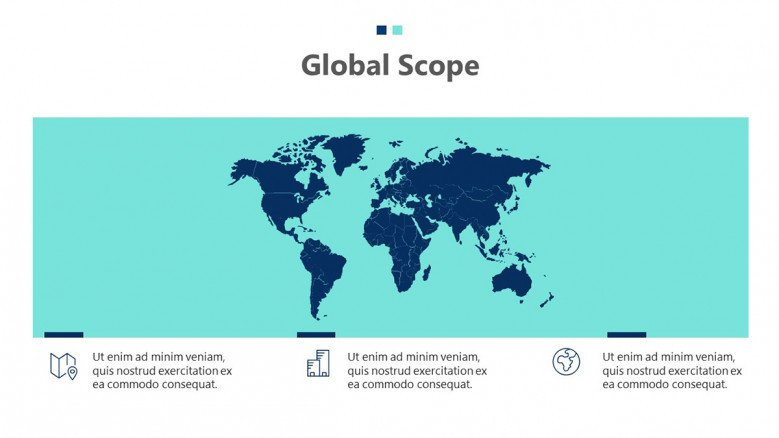 Project global scope slide with a world map graphic