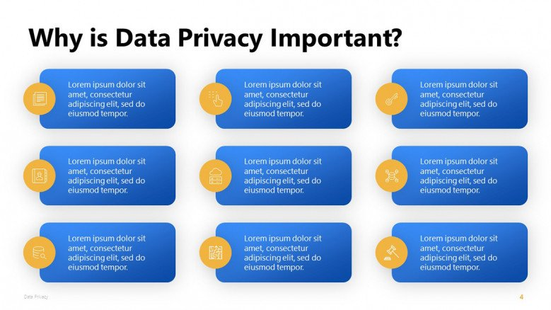Importance of Data Privacy PowerPoint Slide with nine blue boxes