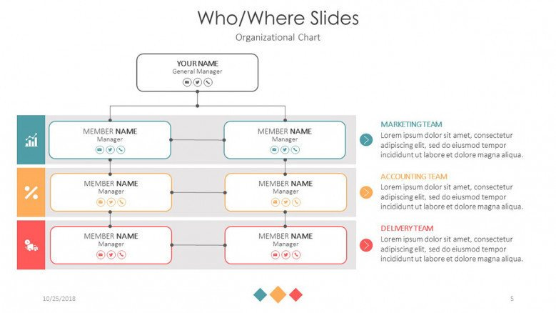 who and where slide organization chart for company management team