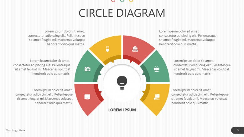 circle diagram with 6 colorful icons and texts