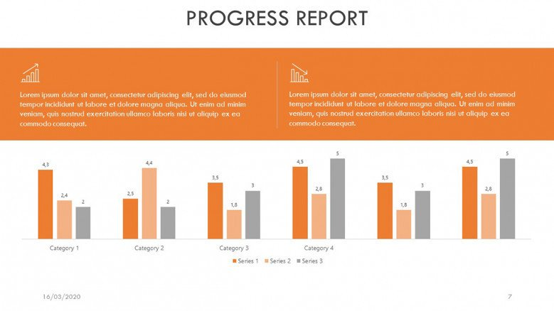 Column chart for a Progress Report Presentation