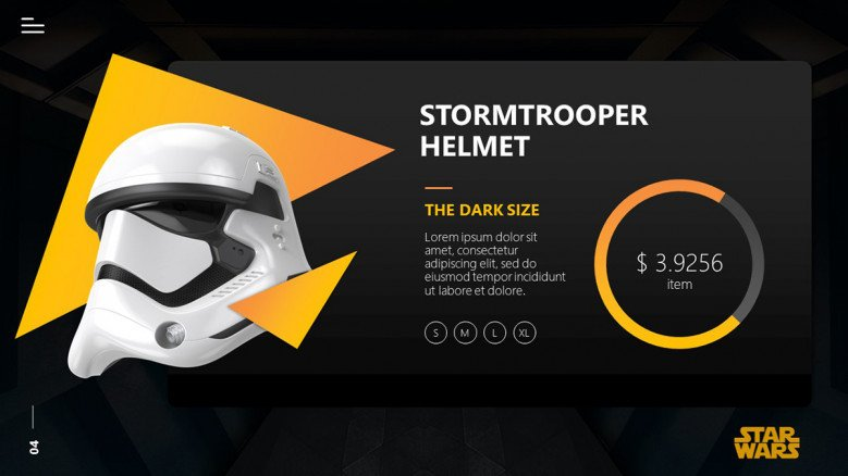 Star Wars Product Slide featuring a Stormtrooper helmet