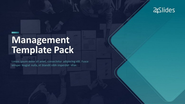 project management template welcome slide in creative style