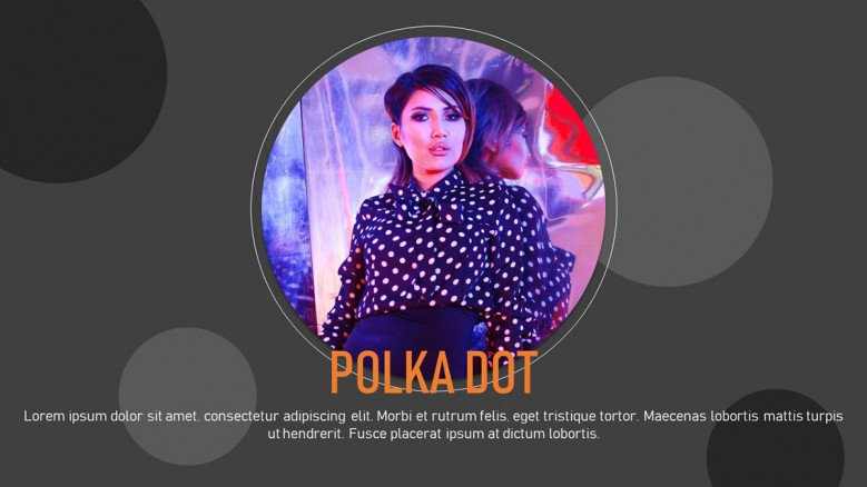 Creative text slide with polka dots