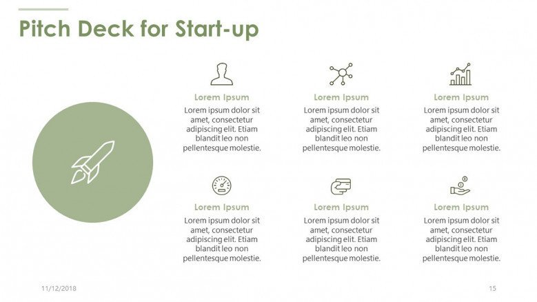 pitch deck for start up in six key factors with icons and text