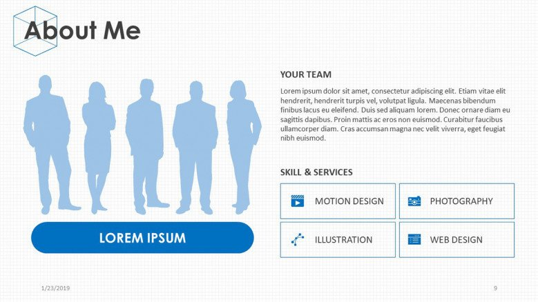 about me slide with team profile