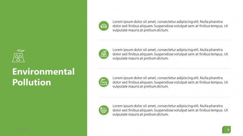 environmental polution summary in four key factors bulletpoint icons
