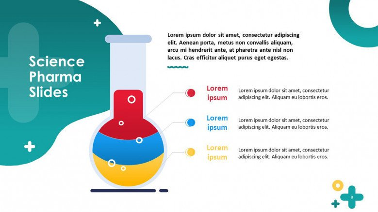 science pharmaceutical key factors in bulletpoints with illustration of chemical flask