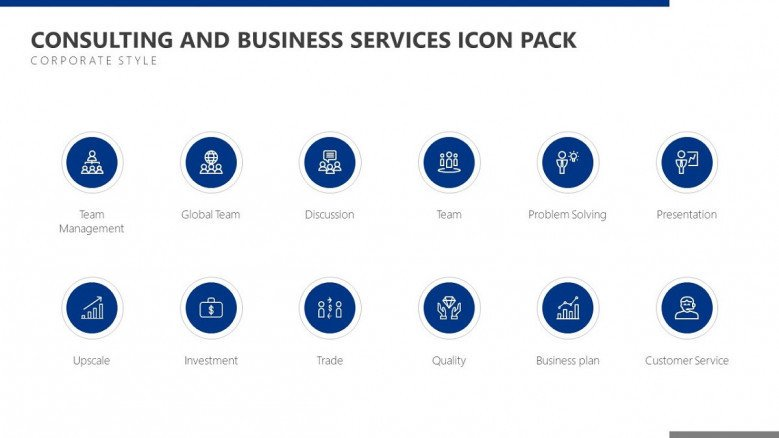 consulting and business services icon in blue corporate style