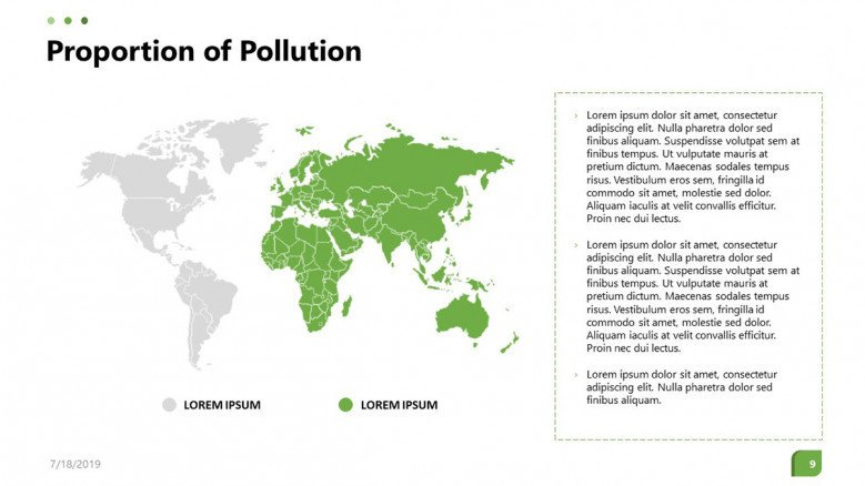 environmental impact analysis in world map with text