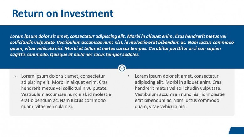 Return of Investment Slide for a Business Case Presentation