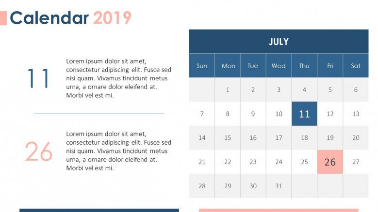 2019 calendar july with description text