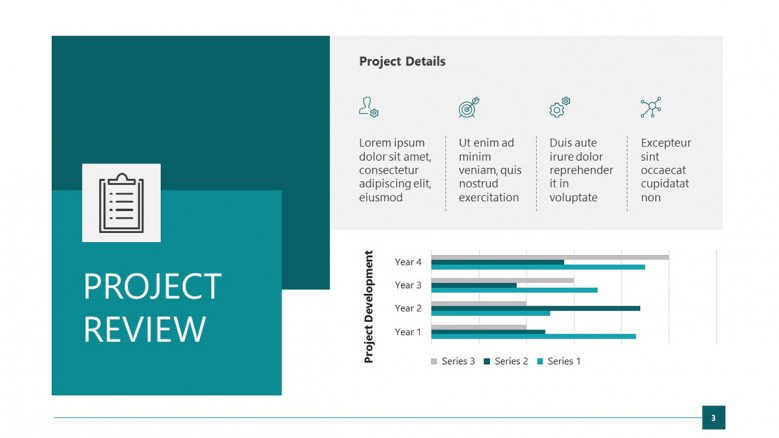 Project review slide with bar charts and business icons