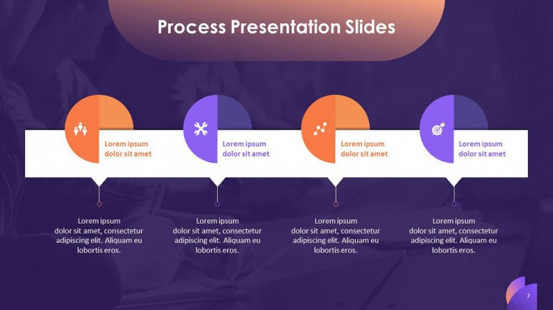 process slide in timeline chart with icons and text