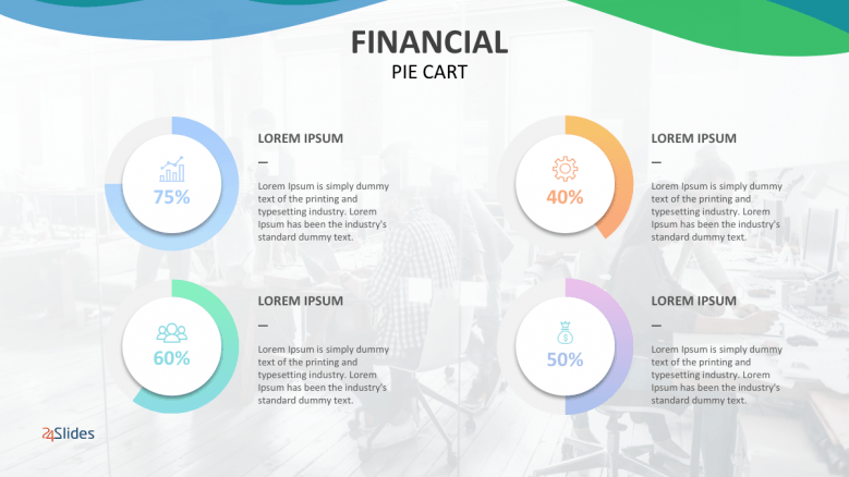 Colorful financial pie chart with four sections of text