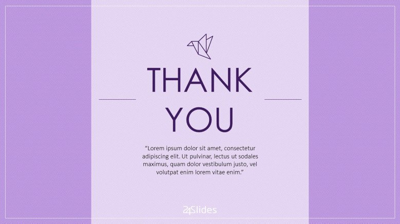 colorful thank you slides in minimalistic purple