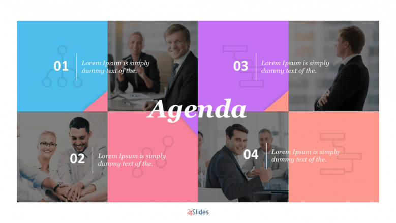 4 section agenda with people images