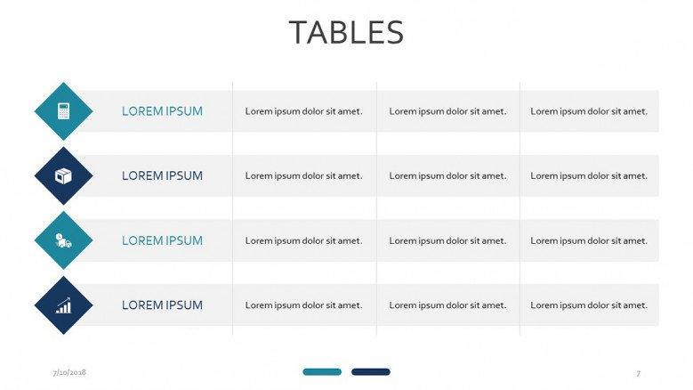 tables slide with icons and text label