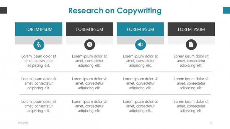 research on copywriting slide in tables