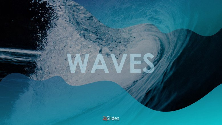 Blue Title Slide with a wave background image