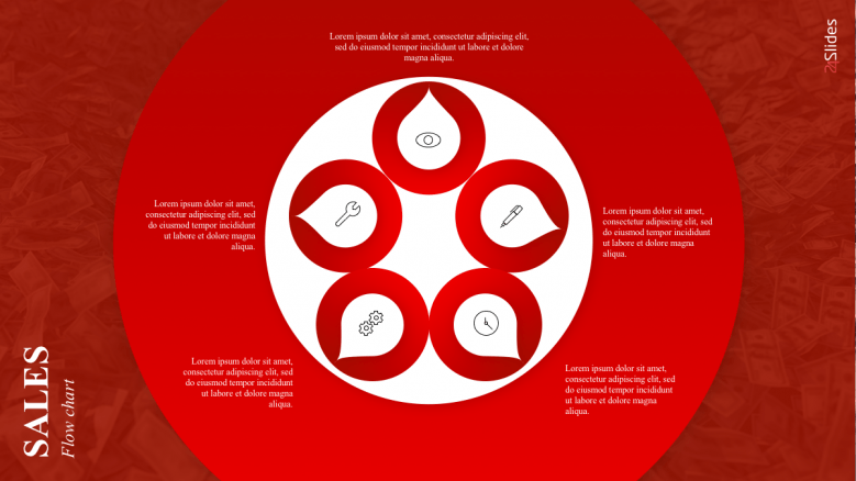 Red color sales flow chart with 5 icons