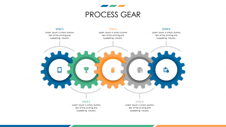 business presentation in process gears slide with five steps