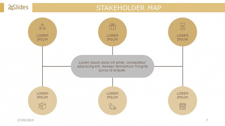 Stakeholder Map Diagram with six circles around the title and icons