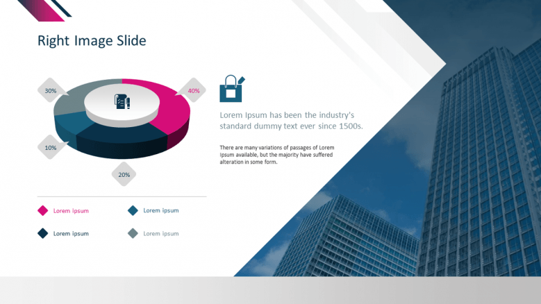 corporate presentation in pie chart slide with icons