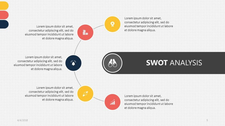 5 section text and icons SWOT analysis slide