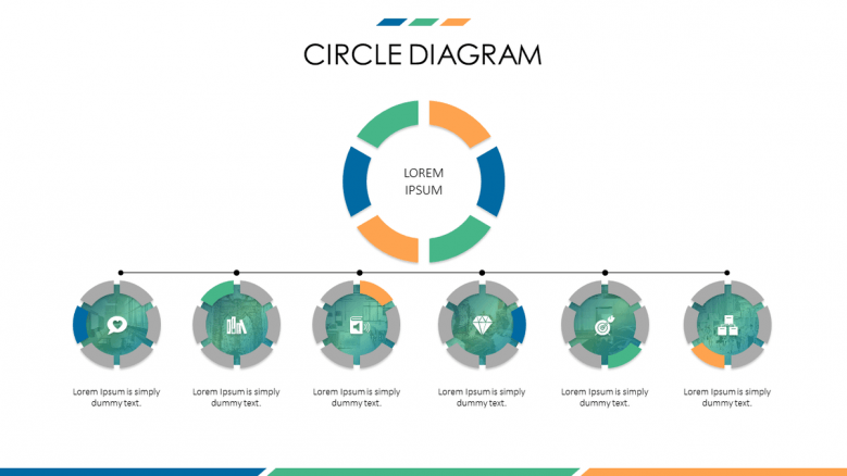 business slide with circle diagram in timeline chart