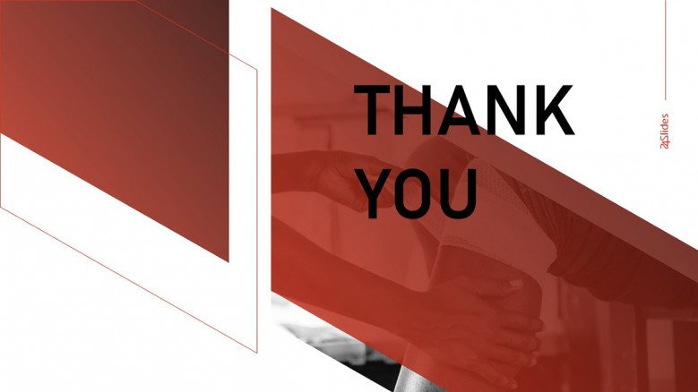 Creative red and white thank you slide