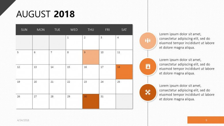 Calendar for August 2018 in orange theme