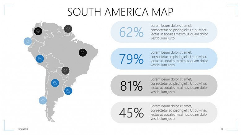 south america map data driven slide