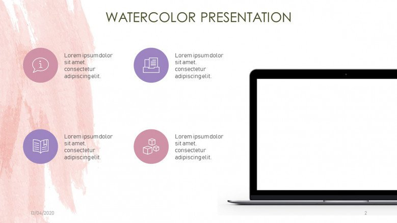 Key points slide with watercolor background and a laptop graphic