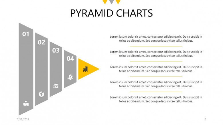 five steps pyramid chart slide with text