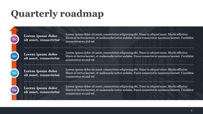 Quarterly Roadmap PowerPoint Slide for Growth Strategies