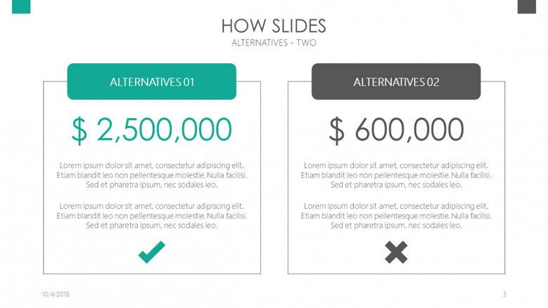 how slides compared cost in text box analysis