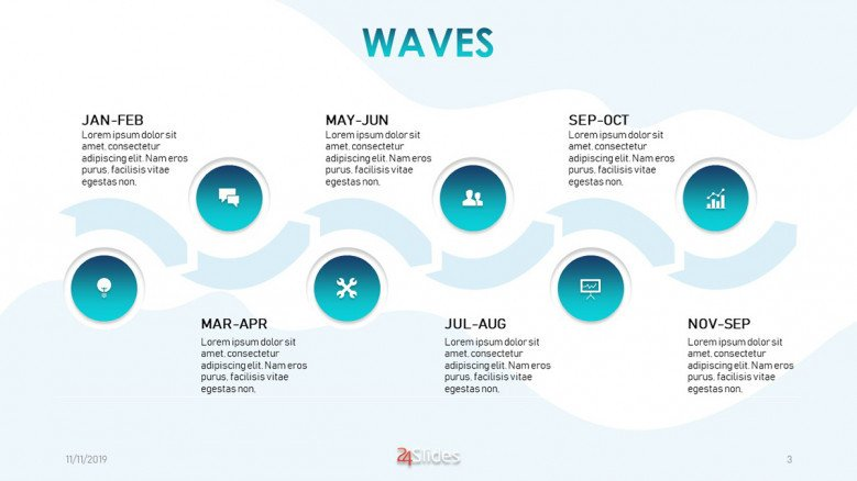 Curved bimonthly timeline with six sections and icons