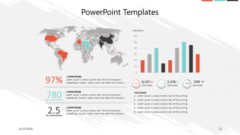 corporate presentation slide with world map and vertical bar graphs