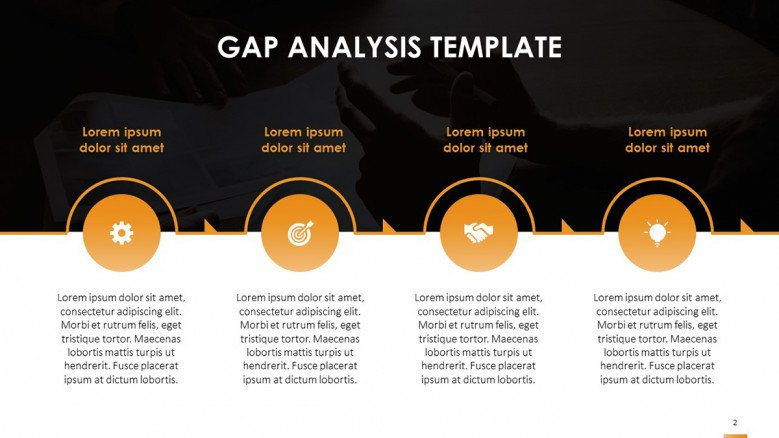 GAP Analysis Process Slide with management icons