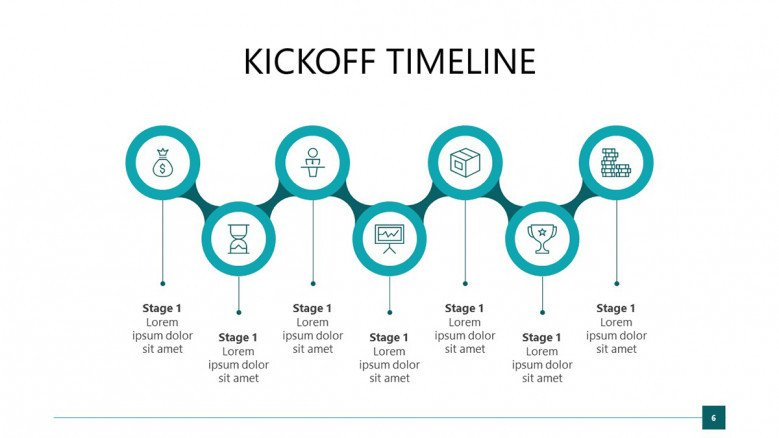 Blue Project Kickoff Timeline in zigzag