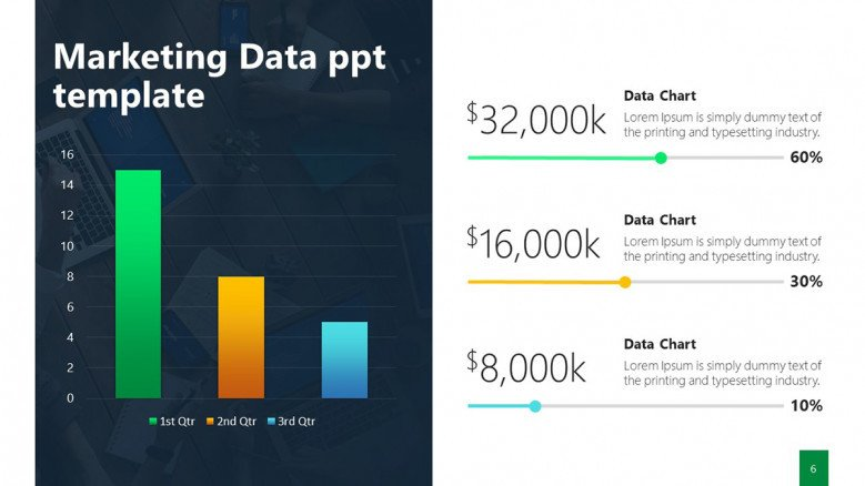Marketing Data PowerPoint Slide with KPIs and column chart