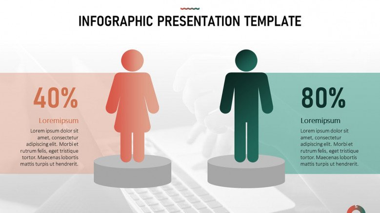 Infographic Slide for Demographic Data with male and female icons and percentages