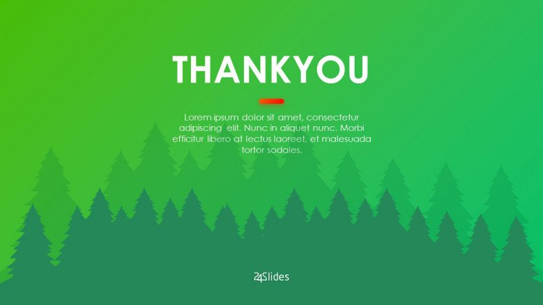 Green thank you slide for a Christmas themed presentation