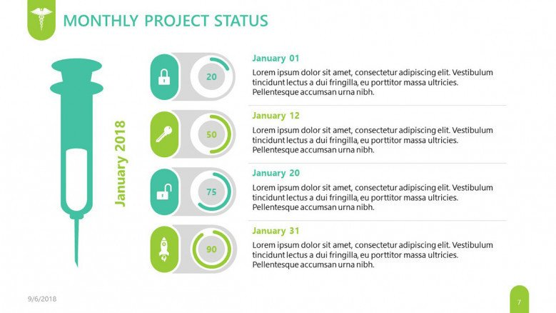 pharmaceutical monthly project status slide in four key points with pie chart and illustration